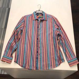 Robert Graham Mistletoe Striped Cotton Dress Shirt